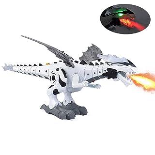 Womdee a Piedi Dinosauro Giocattolo, Fuoco Elettronica Dinosauro Robot Giocattolo respirazione Lo spruzzo d'Acqua Lampeggiante luci Simulazione ruggenti per bambini48x26 x20cm Verde