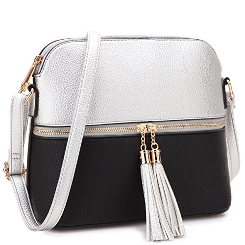 MKP Collection Women Crossbody Bag Multi Zipper Travel Shoulder Messenger Purse~Tassel Accent Medium Crossbody Bag~Lightweight Fashion Medium Crossbody Bag with Tassel for all season (Silver/Black)