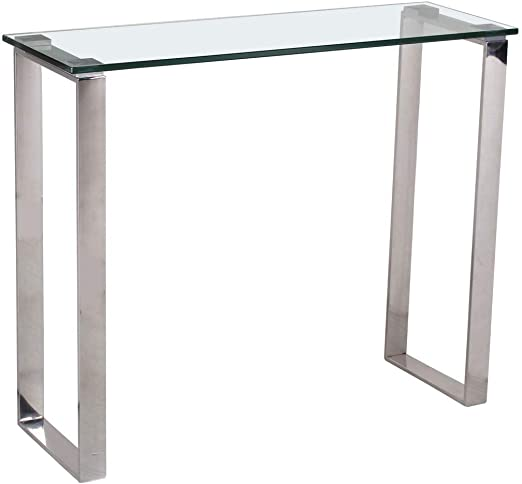 Credaro - Mesa consola de cristal con patas de acero inoxidable ...