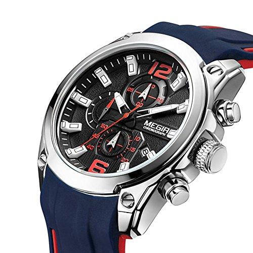 (MEGIR Men's Quartz Wristwatch Luxury Fashion Chronograph Sport Business Gift for Male (Blue))