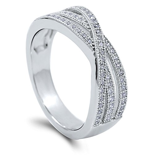 (BERRICLE Rhodium Plated Sterling Silver Cubic Zirconia CZ Woven Cocktail Fashion Right Hand Ring Size 7)