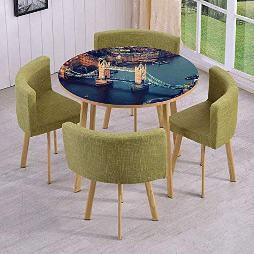 VAMIX Round Table/Wall/Floor Decal Strikers/Removable/London Aerial View with Tower Bridge at Sunset Internatinal Big Old UK British River Decorative/for Living Room/Kitchens/Office -