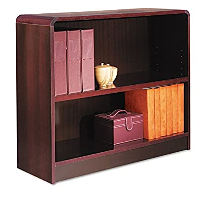 Alera Radius Corner Bookcase, Finished Back, Wood Veneer, 2-Shelf, 36 W 12 D 30 H, Mahogany - Rich wood veneer bookcases with fully-finished backs Generous 11-1/2-Inch deep shelves accommodate three-ring binders and large publications Quick-lock fasteners allow easy assembly - living-room-furniture, living-room, bookcases-bookshelves - 51KXuiBQ1gL. SS400  -