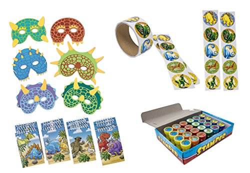 Dinosaur Party Supplies - Birthday Party Favor Set Featuring 24 Foam Dinosaur Masks, 24 Dinosaur Stampers, 12 Dinosaur Notebooks, and 100 Dinosaur Stickers - By M & M Products (Halloween Costume Near Me)