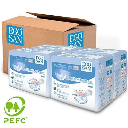 Egosan Ultra Incontinence Disposable Adult Diaper Brief Maximum Absorbency And Adjustable Tabs For Men And Women Large Case 60 Count