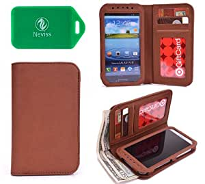 Allview X1 Xtreme -BROWN PHONE HOLDER WALLET- INTERNAL CARD SLOTS AND FULL LENGTH BILL SLOT- UNIVERSALLY DESIGNED-