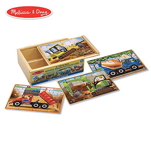 Melissa & Doug Construction Vehicles 4-in-1 Wooden Jigsaw 12-Piece Puzzles (Beautiful Original Artwork, 48 Pieces Total)