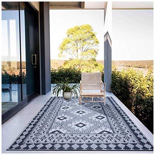 Garden and Outdoor Santextile TT001 Reversible Outdoor/Indoor Plastic Rugs, Outdoor Patio Mats(Blue,8×10) outdoor rugs