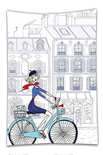 French Revolution Female Costume (Nalahome Fleece Throw Blanket Paris Woman Riding a Bicycle in Paris with a Cat European French Style Illustration Blue Red and White)