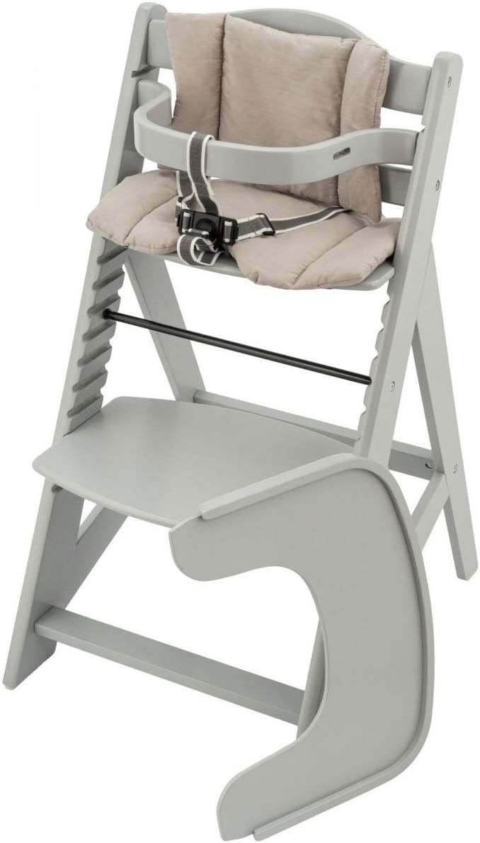 Grey Solid Wood Adjustable Height Moby System Wooden Baby High Chair That Grows with The Child High Chair for Toddler 3-Point Seat Belt with Dining Tray and Cushion