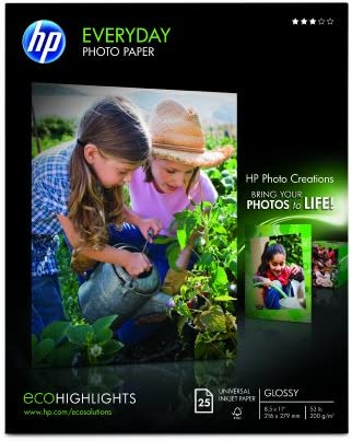 HP Glossy Everyday Photo Paper, 25 Sheets, 8.5 x 11 inches (Q5498A)