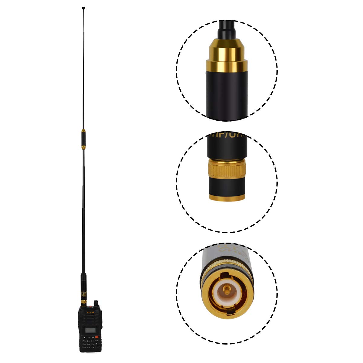 HYS Dual Band BNC Telescopic UHF VHF Two Way Radio 144//430MHz 33.5inch Antenna for Kenwood Icom Vertex Standard Walkie Talkies