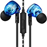 In-ear Sports Earphone sweat-proof, DLAND Metal Audiophile Level Wired Noise-isolating 3.5mm Plug Earbuds Headphone Earphone with Mic for Running/Exercising(Blue)