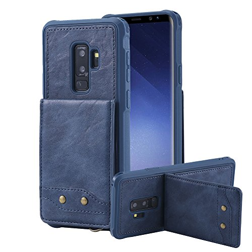 Price comparison product image Leather Wallet Case for Samsung Galaxy S9 Plus, for Samsung Galaxy S9 Plus Card Holder Case, Aearl Flip Folio Back Pocket Card Slot Handbag Cover with Wrist Strap for Samsung Galaxy S9 Plus - Blue