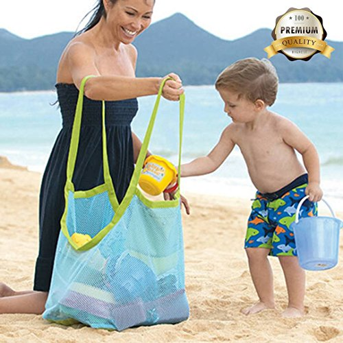 Satisfaction1 Large Portable Beach Mesh Toys Tote Bag Sturdy Blue Sand Backpack Can Put Childrens Toys,Clothes,Towels,Groceries.Suitable for Beach,Pool,Boat