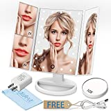 GIWOX Lighted Make Up Vanity Mirror Trifold 180°Rotatable Table Countertop Cosmetic Bathroom Mirror With Touch Screen,2X / 3X / 10X Magnifying Mirror,Battery And USB Power Supply
