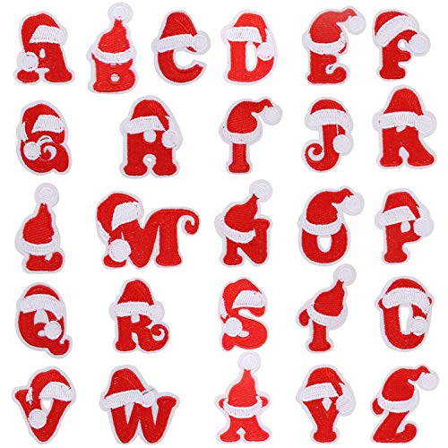 Christmas Patches, 26 Pcs DIY Alphabet Christmas Letter Patches Christmas Iron On Patches for Jackets T-Shirt Jeans Skirt Vests