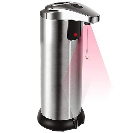 BCKAKQA - Dispensador de jabón automático, color gris claro, sensor de movimiento, manos