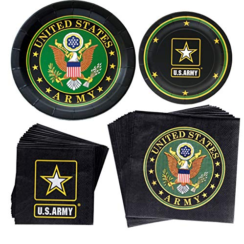 Havercamp US Army Party Bundle | Dinner & Dessert Plates, Luncheon & Beverage Napkins, Balloon | Great for Homecoming Party, Military Inspired Event, American Hero Themed Occasion