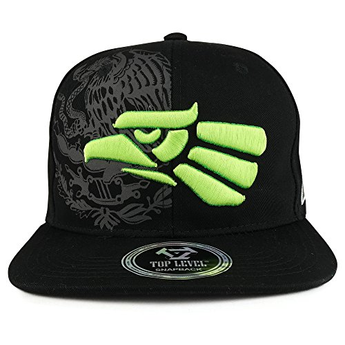 - Hecho En Mexico Eagle 3D Embroidered Flat Bill Snapback Cap - NEON Yellow