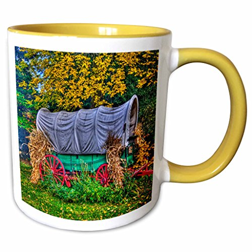 3dRose Danita Delimont - Farms - Covered wagon, Farm, Mill Creek Drive, OR - US38 JRE0086 - Joe Restuccia III - 11oz Two-Tone Yellow Mug (mug_93823_8)