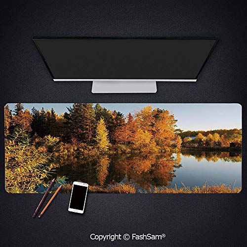 - Personalized Large Mouse Pad Lake in Sunset Rays Autumn Landscape Pond Woodland Outdoors Ecology Environment Decorative Keyboard Pad for Computer(W23.6xL15.7)