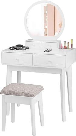 Costway Coiffeuse en Bois MDF Table de Maquillage avec Tabouret et Miroir pour Chambre ou Dressing Blanche