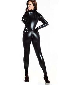 HGOOD Lencería Sexy Mujer Latex Bodysuit Mono Ropa Interior Camisón Wetlook Negro C: Amazon.es: Deportes y aire libre