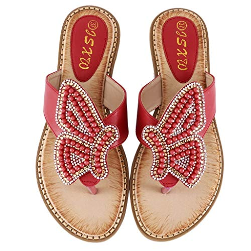 LIM&Shop Women's Bohemian Platform Sandals Rhinestone Bead Wedge Shoes Thong Sandal Bling Crystal Slip-On Bead Flip Flop