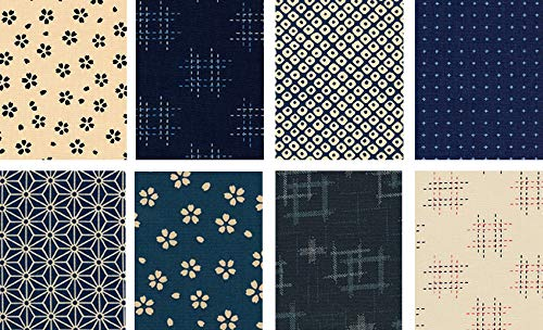 8 Japanese Import Sevenberry Kasuri Indigo Fat Quarter Fabric Collection B (2 Yards Total) from Debsews Fabric