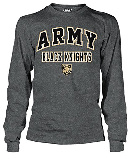 Army Black Knights Charcoal Adult Flanker Long Sleeve Tee Shirt by E5 (XL/46-47)