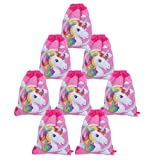 Yosbabe 8 Pack Unicorn Drawstring Bags Unicorn Party Favors Supplies Shoulder Backpack Bag Bulk for Kids Girls Boys Birthday