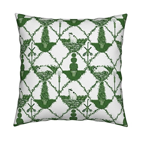 Roostery Garden Tool Cat Green Trellis Ogee Toile Eco Canvas Throw Pillow Cover Cat Nip Cat Nap Garden ~ by Peacoquettedesigns Cover w Optional Insert