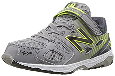 New Balance Boys' 680 V3 Running Shoe, Grey/Hi-Lite, 2 M US Infant