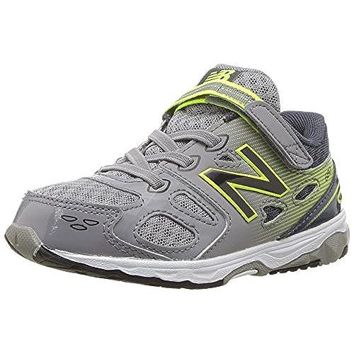 New Balance Boys' 680 V3 Running Shoe, Grey/Hi-Lite, 6 W US Big Kid