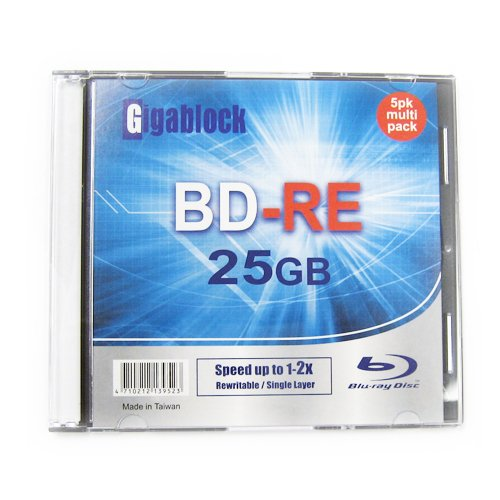 1pcs Gigablock ReWritable Blu-Ray BD-RE 1~2x 25GB Logo Printed Blank Media with Jewel Case