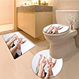 MikiDa Bathroom Non-Slip Floor Mat row of multiethnic college students raising hands in classroom Machine-Washable