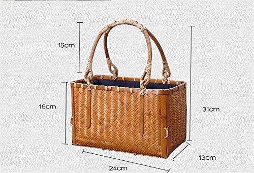 Gewebte Bambus Tasche Portable Korb Bambus Handwerk Strand Tote Shopper Tasche Handtasche Schulter