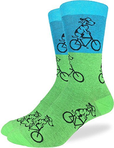 Good Luck Sock Mens Green Dog on Bike Crew Socks - Green, Adult Shoe Size 7-12
