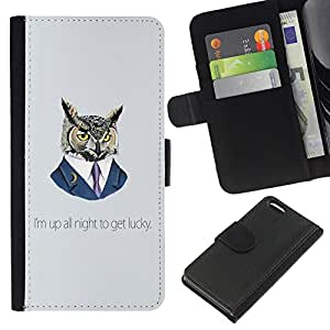 Planetar® Colorful Pattern Flip Wallet Leather Holster Protective Skin Case Cover For Apple iPhone 5C ( Funny Up All Night Owl )