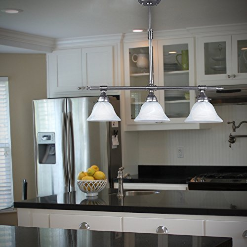 Brushed Nickel Island Pendant with Alabaster Glass Globes by HowPlumb (Image #2)