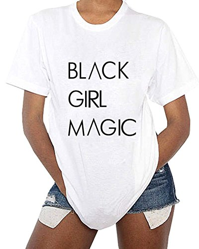 Black Girl Magic Women's Cute Graphic T Shirts Funny Tops Short Sleeve Tees Crewneck T-Shirt (X-Large, White)