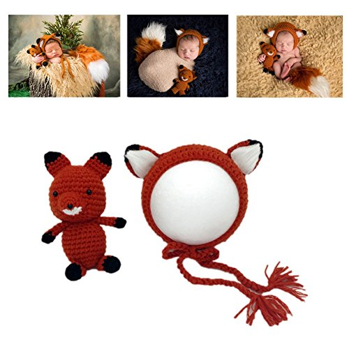 Newborn Girls Boys Handmade Knit Baby Photo Props Outfits Fox Hat and Doll Set (Orange)
