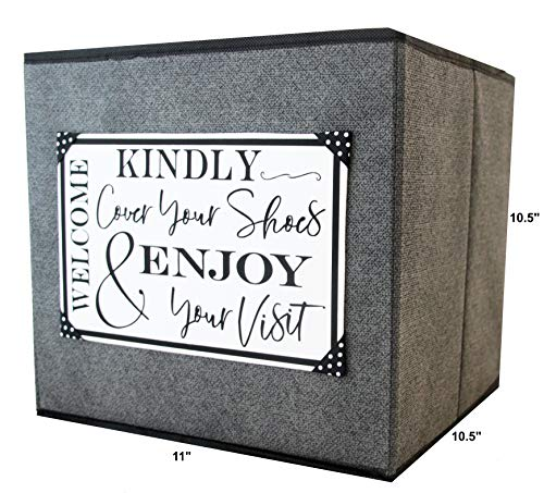 Open House Event Must Have. Classy Fabric Foldable Storage Cube with Handmade Canvas Sign Asking Visitors to Cover Shoes, You just Fill with Booties. Great for Realtors and Homeowners. (Gray)