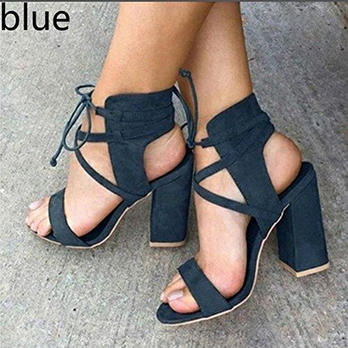 Sommerschuhe Blockabsatz Schuhe Riemchensandalen Absatzschuhe Abendschuhe Damen Blau Hoch Sandalen Offene Elegante Absatz Pumps Kootk Party Heels Schuhe High Up Lace ZfnxnBd
