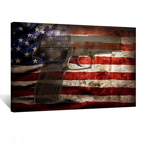 Kreative Arts - American Flag with Handgun Vintage Style Patriotic Concept Canvas Prints Wall Art Modern Wall Decor Home Decoration Stretched Gallery Canvas Wrap Giclee Print Ready to Hang 24''x36'' (Wall Patriotic Decor)