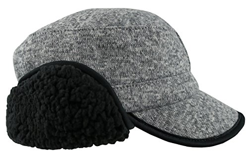N'Ice Caps Boys Knitted Poly Brim Hat With Plush Fleece Lining (58cm(12-15yrs), Silver - 58 14