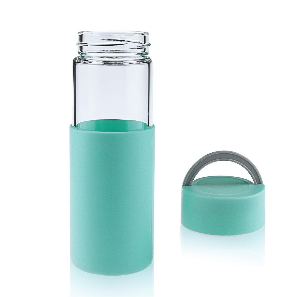 Reeho® Deportes Borosilicato Botella de Agua de Vidrio con Silicona Manga [ Libre de BPA] (Cielo Azul, 450ml): Amazon.es: Deportes y aire libre