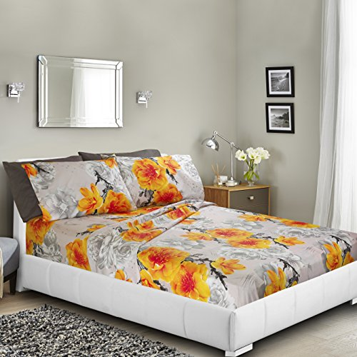 Printed Bed Sheet Set, Queen - Yellow Flower - By Clara Clar