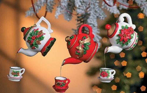 Teapot Ornaments - Christmas Decor - Set of 6